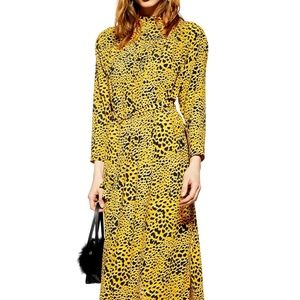 Topshop Yellow Midi Dress